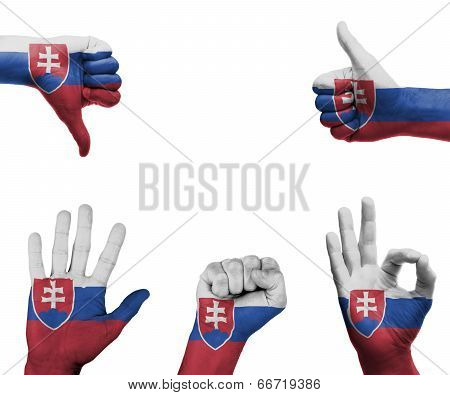 Hand Set With The Flag Of Slovakia