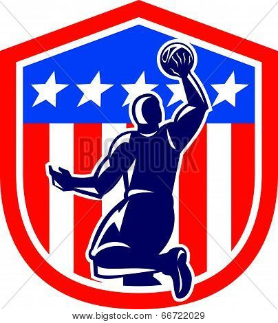 American Basketball Player Dunk Rear Shield Retro