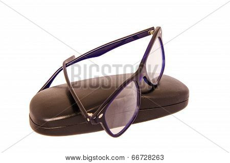 Reading Glasses And Case Isolated On White