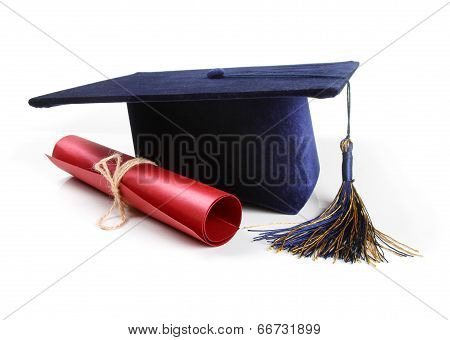 Graduation Hat And Diploma Isolated On White
