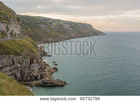 Coastline of Great Orme's Head, a headland and nature reserve in North Wales poster
