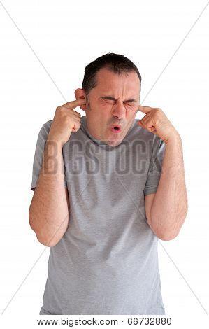 Man Preventing Hearing Damage