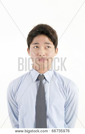 Asian businessman worry something