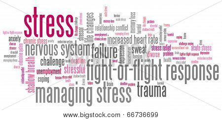 Stress emotional issues and concepts word cloud illustration. Word collage concept. poster