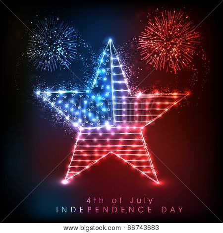Shiny star in national flag colors in colorful fireworks night background, celebration background for 4th of July, American Independence Day.
