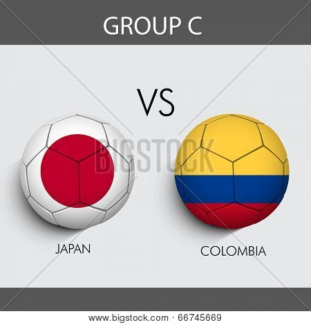 Group C Match Japan v/s Colombia countries flags