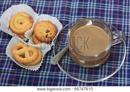 Cup Of Coffee And Cookies On Chintz Scots