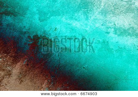 Cracked Turquoise Wall Background.