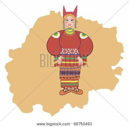 Woman In Traditional Folk Costume Of The Ryazan Region