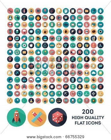 200 high quality vector flat icons