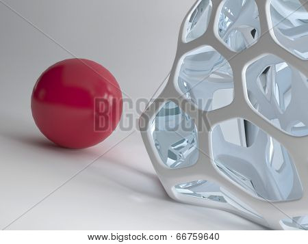 Illustration of red ball against modern abstract design grid