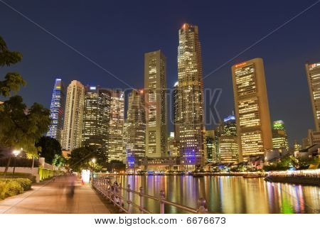 Singapore cityscape at night from Boat Quay