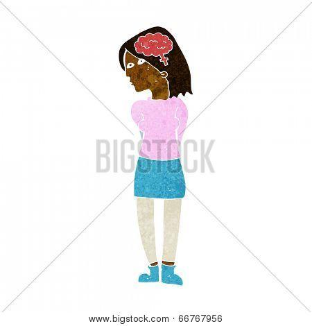 cartoon brainy woman
