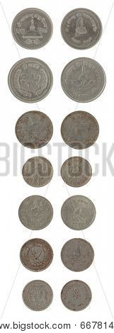 Nepalese paisa coins isolated on white poster