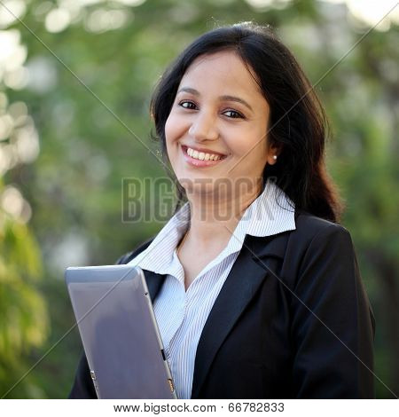 Business Woman With Tablet Computer At Outdoors