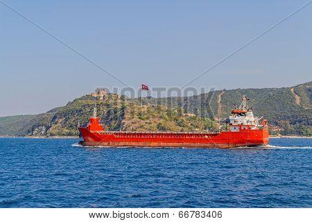 Ship sails Bosphorus