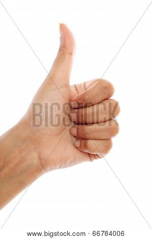 Female hand showing thumbs up sign