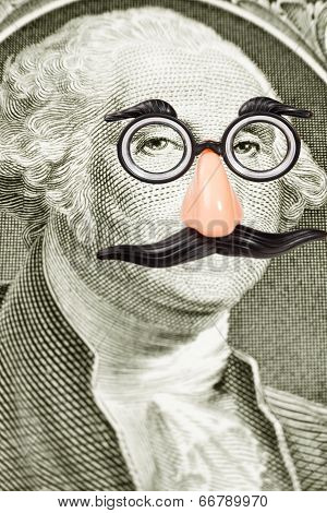 Novelty Glasses And Mustache On George Washington