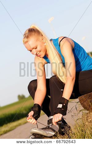 Woman Going Rollerblading