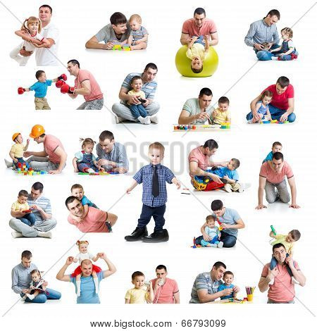 Babies And Kids Collage  With Dads. Paternity And Fatherhood Concept. Isolated On White.