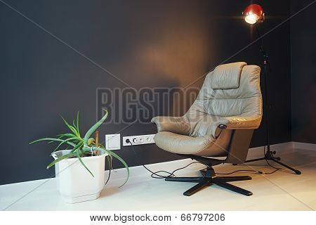Modern Living Room With Beige Leather Armchair And Black Wall