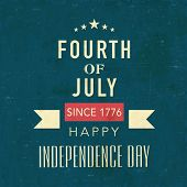Vintage poster, banner or flyer design with golden text Fourth of July, Happy Independence Day on sea green background.  poster