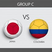 Group C Match Japan v/s Colombia countries flags poster