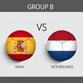 Group B Match Spain v/s Netherlands countries flags poster
