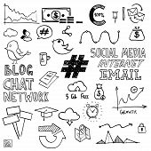 Hand draw social media sign and symbol doodles elements. Concept tweet, hashtag, internet communication. poster