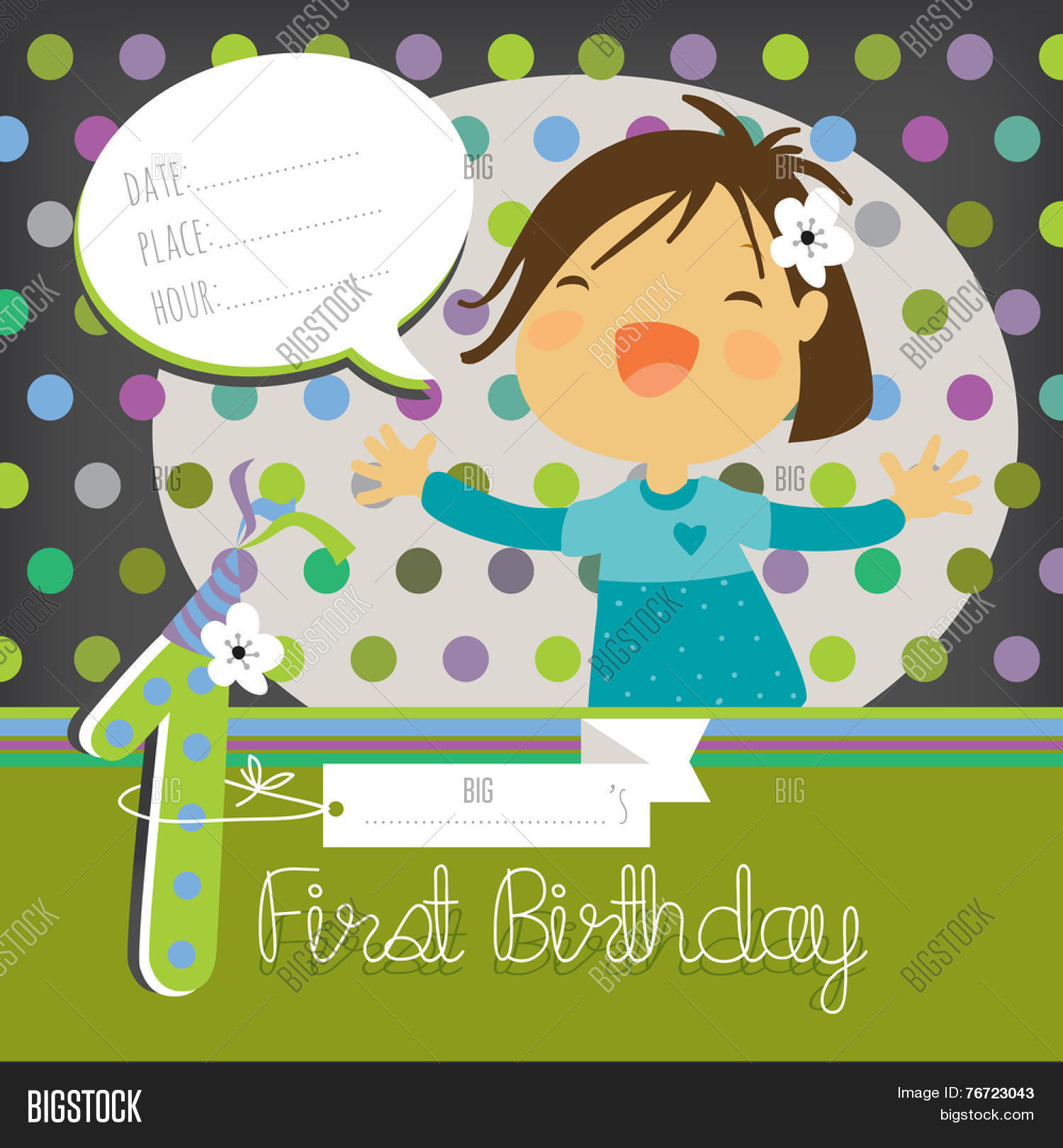 First Birthday Vector Photo Free Trial Bigstock