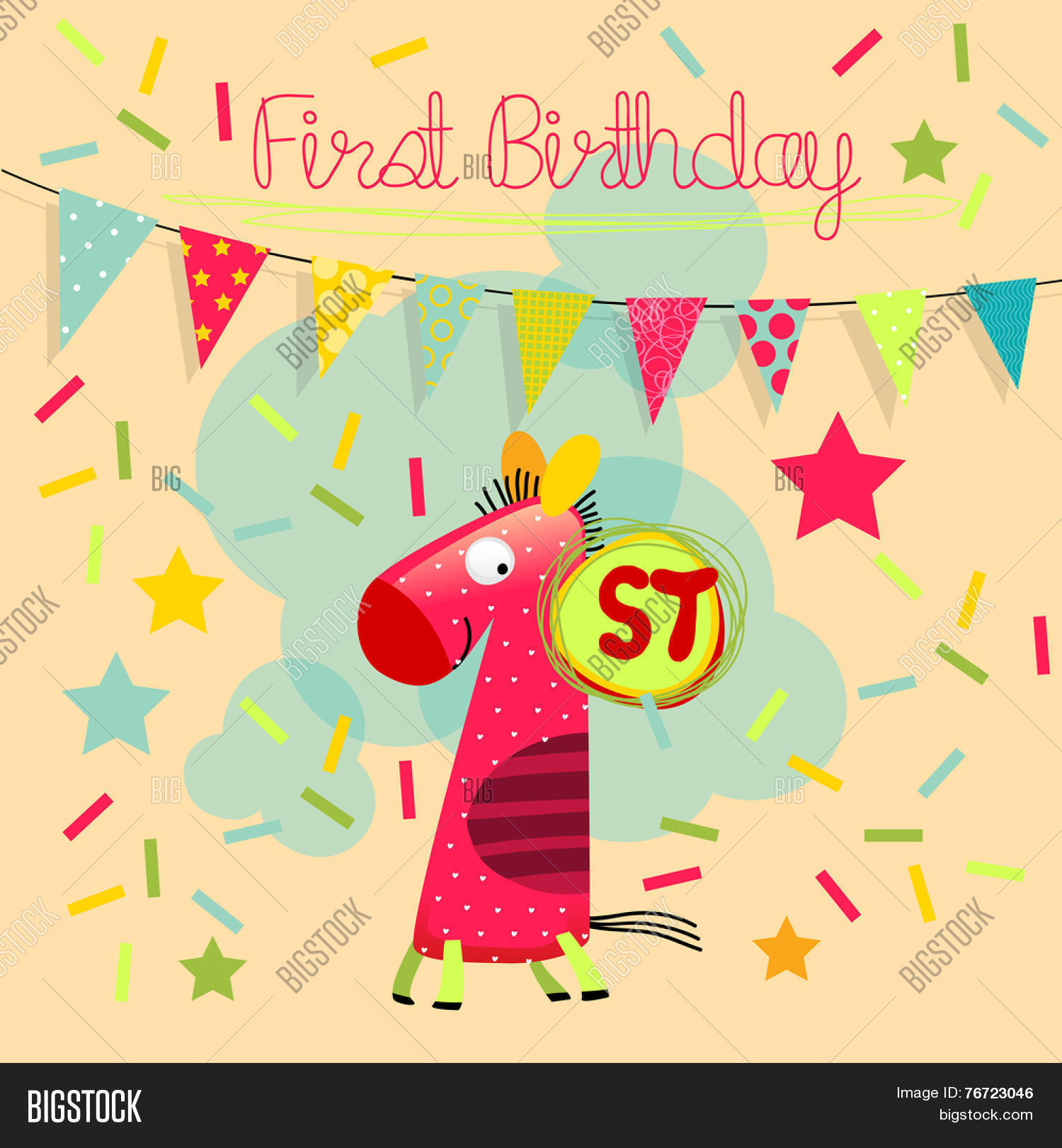First birthday vector photo free trial bigstock first birthday vector happy birthday greeting card birthday invitation anniversary celebration greeting card m4hsunfo
