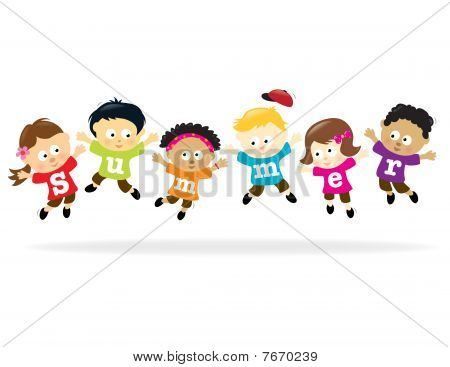 Summer Fun kids - multi-ethnic