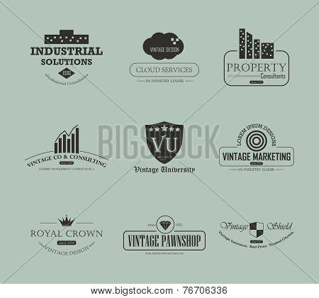 Set of vintage business and industry logo design element