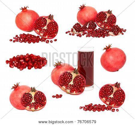 Set Ripe Pomegranates With Seeds (isolated)
