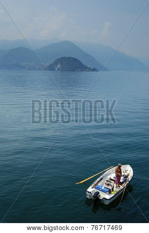 Fishing on Lake Como, Italy