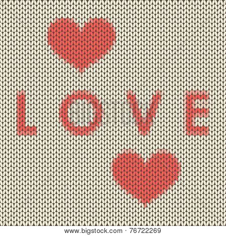 Knitted Love Covet With Red Hearts