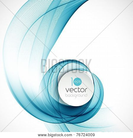 Abstract transparent fractal blue wave template
