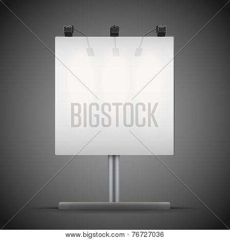 Empty square mockup billboard with spotlights and illuminated at night. Vector Illustration isolated on background. poster