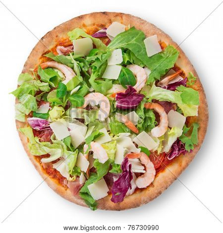 Delicious italian primavera pizza on white background.