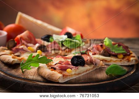 """Delicious italian pizza """"primavera"""" served on wooden table, close-up. poster"""