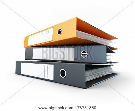 Binder, Office Folders On A White Background