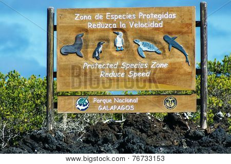 Sign In The Galapagos National Park, Ecuador To Protect Animals