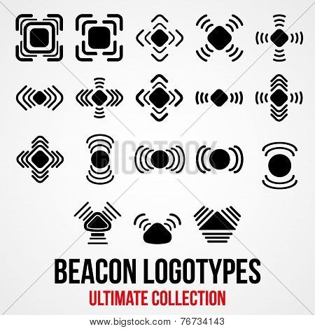 Set of black vector bluetooth GPS beacon icons.