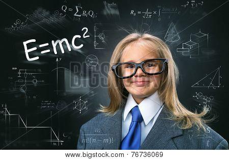 Funny little girl-scientist