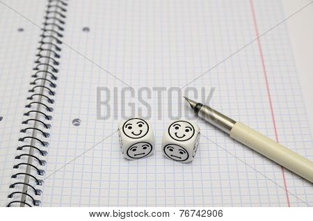 Open Exercise Book With Mood Dice (happy)