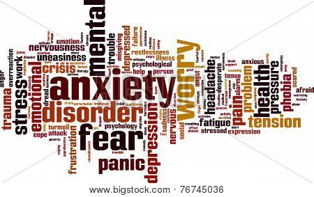 Anxiety word cloud concept. Vector illustration on white poster
