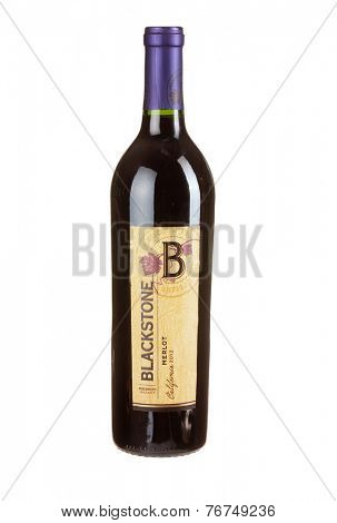 Hayward, CA - November 23, 2014: 750mL bottle of  Blackstone California 2012 Merlot Wine