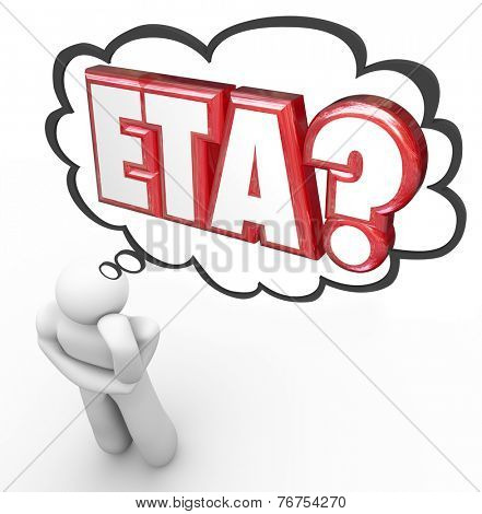 ETA words in thought cloud over man or person thinking of estimated time of arrival for a travel destination or package delivery