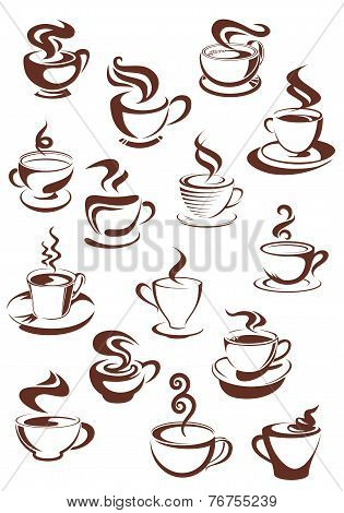 Steaming coffee cups set