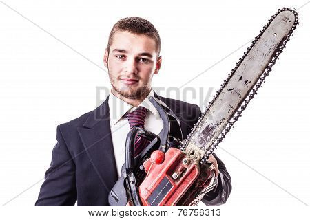 Businessman With Red Chain Saw